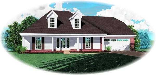 House Plan 46798 | Traditional Style Plan with 2507 Sq Ft, 3 Bedrooms, 2 Bathrooms, 2 Car Garage Elevation