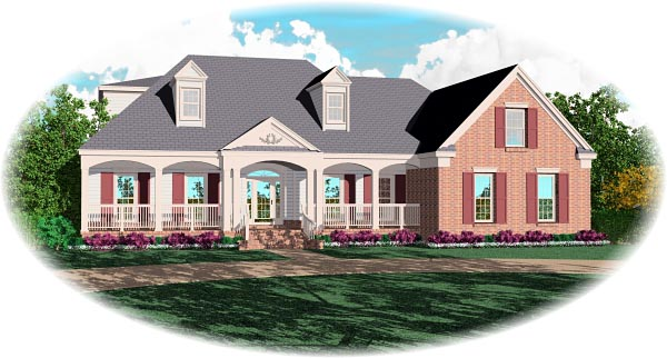 House Plan 46799 | Traditional Style Plan with 3519 Sq Ft, 4 Bedrooms, 4 Bathrooms, 3 Car Garage Elevation