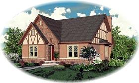 Tudor House Plan 46808 with 3 Beds, 3 Baths, 2 Car Garage Elevation