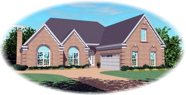 European House Plan 46813 Elevation