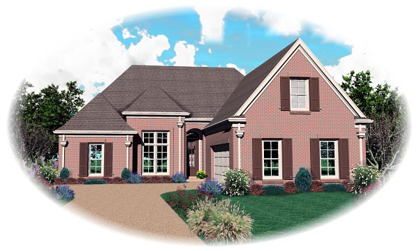 European House Plan 46814 Elevation