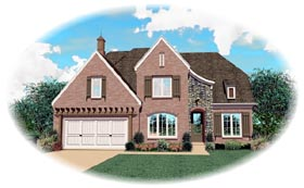 House Plan 46824 | European Style Plan with 2863 Sq Ft, 4 Bedrooms, 3 Bathrooms, 2 Car Garage Elevation