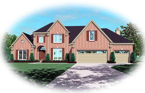 Traditional House Plan 46830 with 4 Beds, 4 Baths, 3 Car Garage Elevation