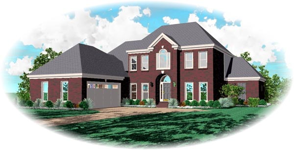 European House Plan 46846 with 3 Beds, 3 Baths, 2 Car Garage Elevation