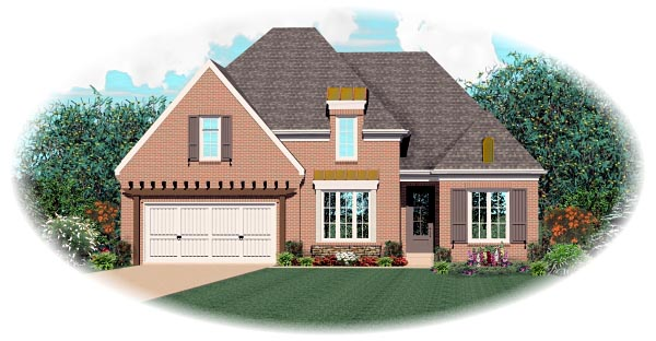 European House Plan 46859 with 3 Beds, 3 Baths, 2 Car Garage Elevation