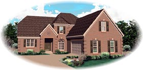 House Plan 46860 | European Style Plan with 3199 Sq Ft, 3 Bedrooms, 3 Bathrooms, 2 Car Garage Elevation