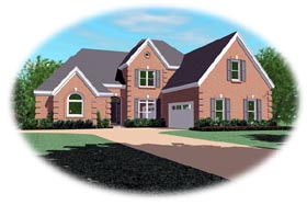 Traditional House Plan 46862 with 4 Beds, 4 Baths, 2 Car Garage Elevation