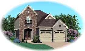 House Plan 46886 with 4 Beds, 3 Baths, 2 Car Garage Elevation