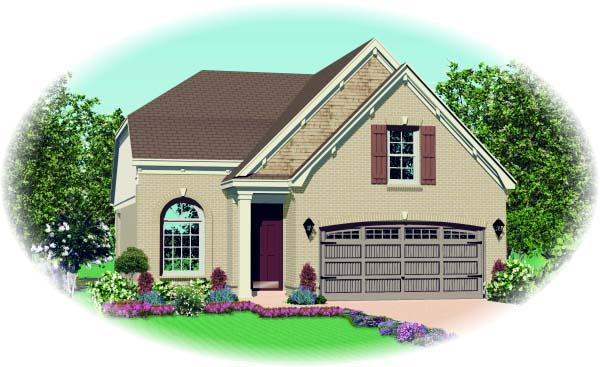 Narrow Lot House Plan 46909 with 3 Beds, 3 Baths, 2 Car Garage Elevation