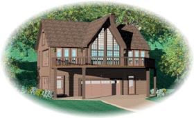 House Plan 46923 with 2 Beds, 2 Baths, 2 Car Garage Elevation