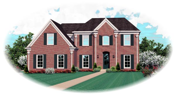Colonial House Plan 47019 with 3 Beds, 3 Baths, 2 Car Garage Elevation