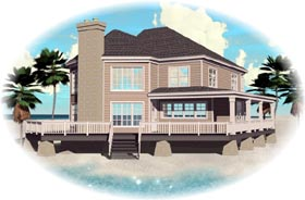 Coastal House Plan 47032 Elevation
