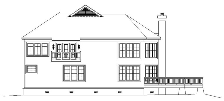 Coastal House Plan 47032 Rear Elevation