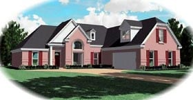 House Plan 47038 | Traditional Style Plan with 2164 Sq Ft, 3 Bedrooms, 2 Bathrooms, 2 Car Garage Elevation