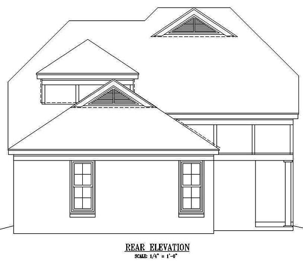 House Plan 47066 with 3 Beds, 3 Baths, 2 Car Garage Rear Elevation