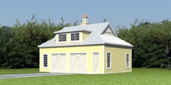 Farmhouse 2 Car Garage Apartment Plan 47099 with 1 Beds, 1 Baths Rear Elevation