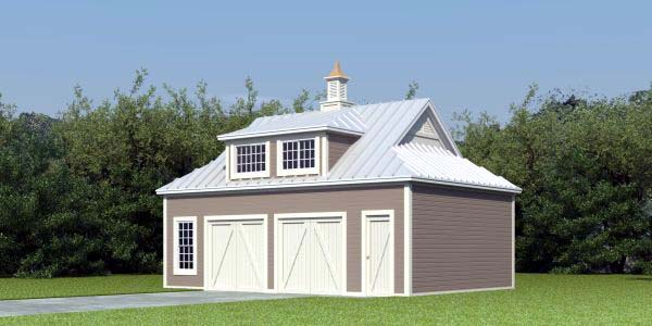 Farmhouse 2 Car Garage Apartment Plan 47100 with 1 Beds, 1 Baths Elevation