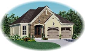 House Plan 47111 with 3 Beds, 2 Baths, 2 Car Garage Elevation