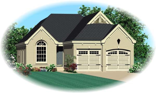House Plan 47119 | Style Plan with 1514 Sq Ft, 3 Bedrooms, 2 Bathrooms, 2 Car Garage Elevation