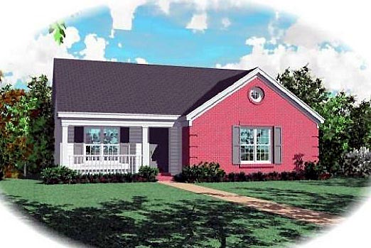 Farmhouse, Narrow Lot, One-Story, Traditional House Plan 47133 with 3 Beds, 2 Baths Elevation