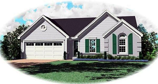Narrow Lot , One-Story , Traditional , Elevation of Plan 47134