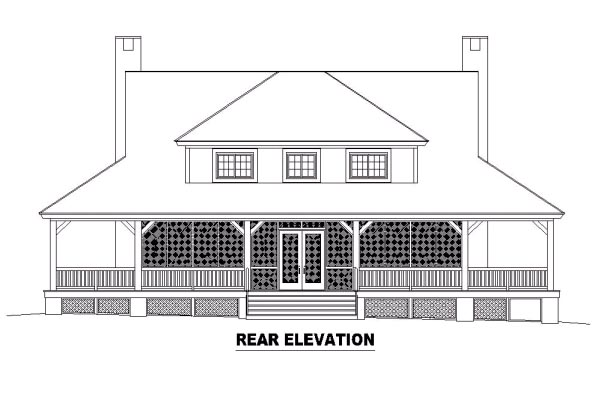 Country Florida Traditional House Plan 47140 Rear Elevation