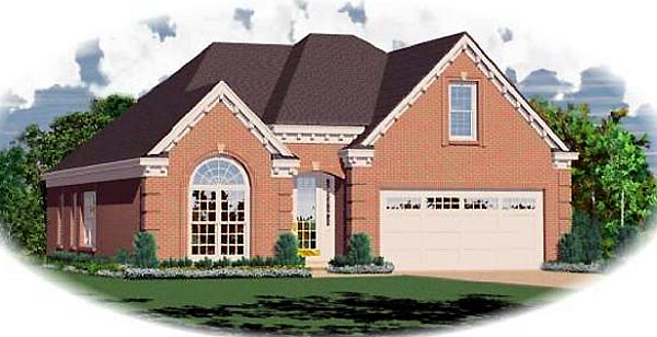 Traditional House Plan 47144, 2 Car Garage Elevation