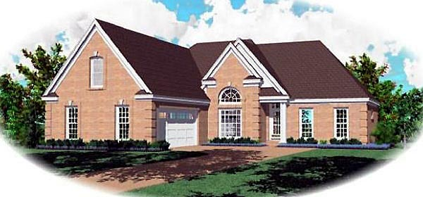 House Plan 47145 | Traditional Style Plan with 2001 Sq Ft, 3 Bedrooms, 2 Bathrooms, 2 Car Garage Elevation