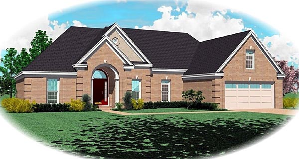 House Plan 47147 | Traditional Style Plan with 1871 Sq Ft, 3 Bedrooms, 2 Bathrooms, 2 Car Garage Elevation