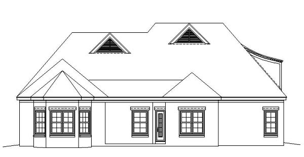 House Plan 47151 | Traditional Style Plan with 2549 Sq Ft, 3 Bedrooms, 2 Bathrooms, 2 Car Garage Rear Elevation