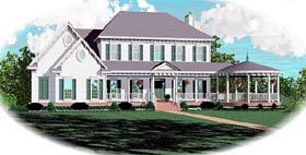 House Plan 47153 | Country Traditional Style Plan with 3996 Sq Ft, 4 Bedrooms, 5 Bathrooms, 2 Car Garage Elevation