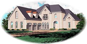 Traditional House Plan 47155 with 4 Beds, 3 Baths, 3 Car Garage Elevation