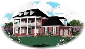 Colonial Plantation Traditional House Plan 47157 Elevation