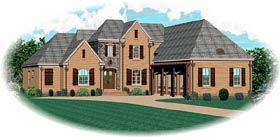 House Plan 47158 | Traditional Style Plan with 4431 Sq Ft, 4 Bedrooms, 3 Bathrooms, 3 Car Garage Elevation