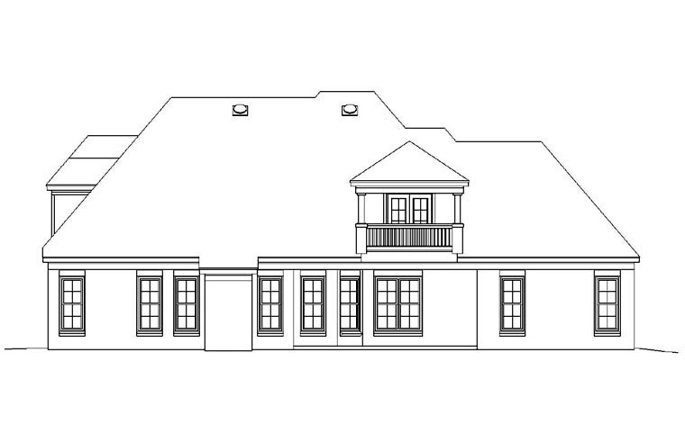 Traditional Rear Elevation of Plan 47158