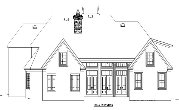 European , Traditional House Plan 47165 with 4 Beds, 5 Baths, 3 Car Garage Rear Elevation