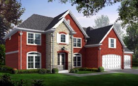 House Plan 47184 | Style Plan with 3394 Sq Ft, 4 Bedrooms, 4 Bathrooms, 3 Car Garage Elevation