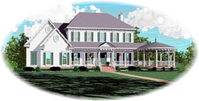 Plantation House Plan 47284 with 4 Beds, 4 Baths, 3 Car Garage Elevation