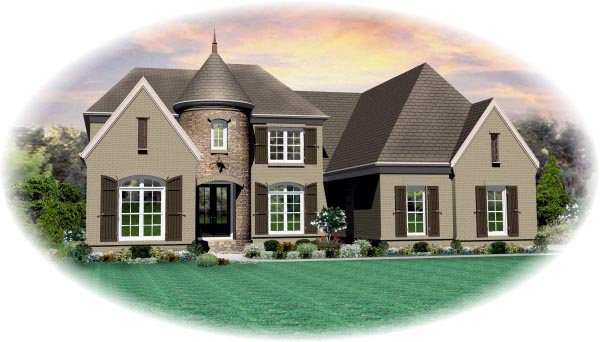 House Plan 47294 | Style Plan with 4074 Sq Ft, 5 Bedrooms, 4 Bathrooms, 3 Car Garage Elevation