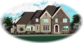 House Plan 47343 | Style Plan with 5437 Sq Ft, 5 Bedrooms, 4 Bathrooms, 3 Car Garage Elevation