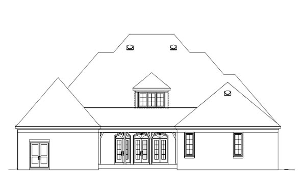 House Plan 47346 with 4 Beds, 4 Baths, 3 Car Garage Rear Elevation