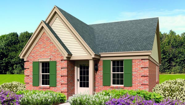 Narrow Lot, One-Story, Traditional House Plan 47374 with 3 Beds, 2 Baths Elevation
