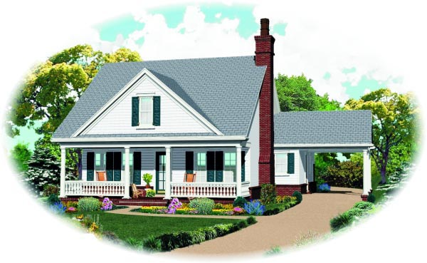 House Plan 47382 | Traditional Style Plan with 1659 Sq Ft, 3 Bedrooms, 3 Bathrooms Elevation