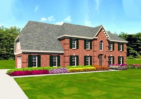 House Plan 47389   Traditional Style Plan with 2317 Sq Ft, 4 Bedrooms, 4 Bathrooms, 2 Car Garage Elevation