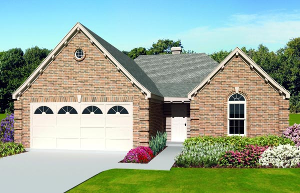 House Plan 47392 | Style House Plan with 1420 Sq Ft, 3 Bed, 2 Bath, 2 Car Garage Elevation