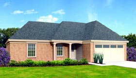 House Plan 47396 | Style House Plan with 1429 Sq Ft, 3 Bed, 2 Bath, 2 Car Garage Elevation