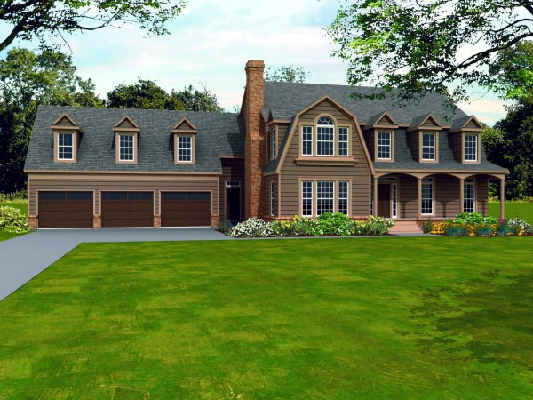 Country House Plan 47439 with 4 Beds, 4 Baths, 3 Car Garage Elevation