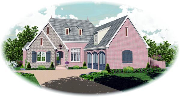 Country House Plan 47489 with 3 Beds, 3 Baths, 3 Car Garage Elevation