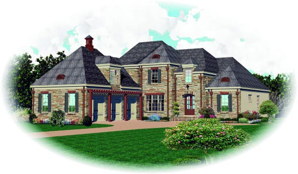 Country House Plan 47529 with 3 Beds, 4 Baths, 3 Car Garage Elevation