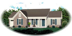 House Plan 47547 | Traditional Style Plan with 1008 Sq Ft, 2 Bedrooms, 2 Bathrooms, 1 Car Garage Elevation